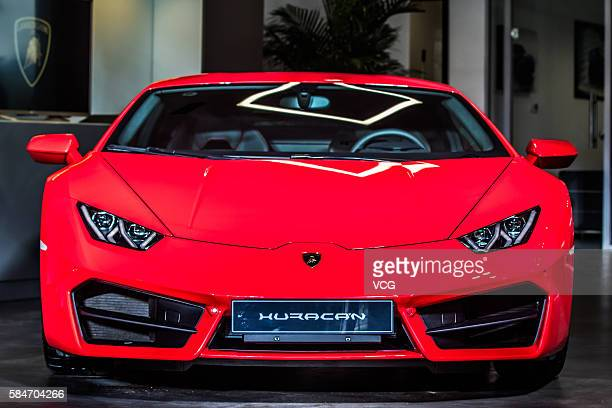Huracan LP5802 is on display at a opening ceremony as Automobili Lamborghini opens the second exhibition hall which's also a largest one in China on...