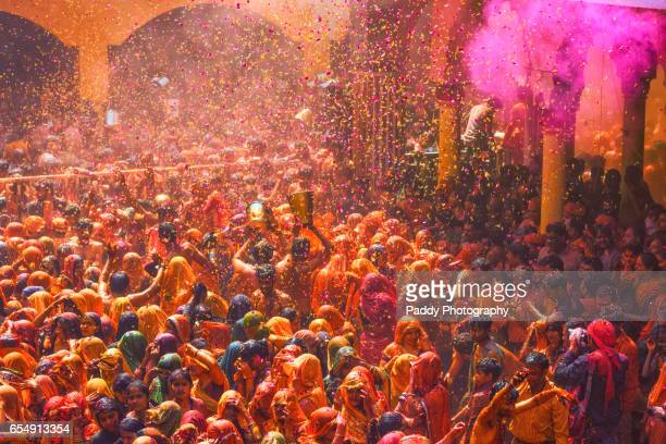 huranga holi, baldeo temple, mathura - holi stock pictures, royalty-free photos & images