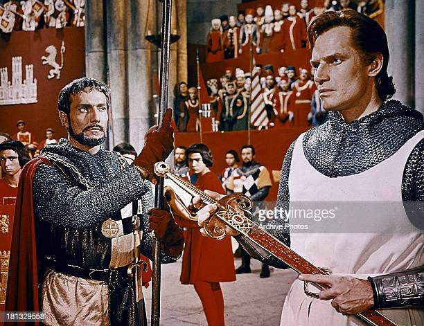 Hurd Hatfield and Charlton Heston in a scene from the film 'El Cid' 1961