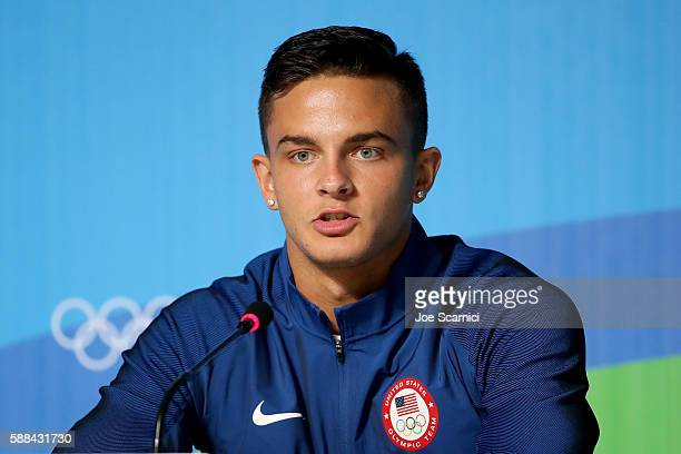 Hurdler Devon Allen of the United States speaks during a news conference at the Main Press Centre on Day of the 2016 Rio Olympic Games on August 11...