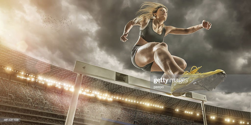 Hurdler in Extreme Close Up : Stock Photo