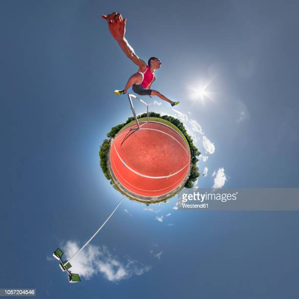 hurdler, little planet view - little planet format stock photos and pictures