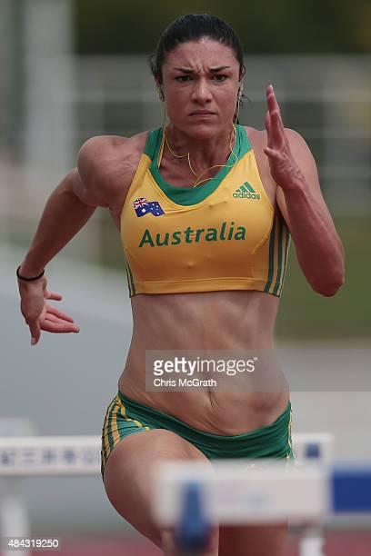 Hurdler Michelle Jenneke of Australia trains during the Australian Flame Team Camp training session held at Kimidera Athletics Stadium on August 17...