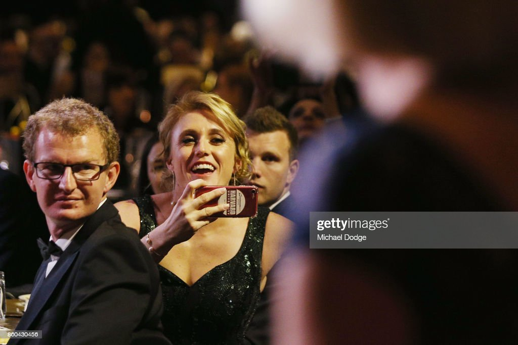 Hurdler Sally Pearson reacts as past inducteed make their way on stage at the Sport Australia Hall of Fame Annual Induction and Awards Gala Dinner at Crown Palladium on October 12, 2017 in Melbourne, Australia.