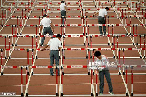 Hurdles are placed on the track for the Men's 110 metres hurdles semifinal during day six of the 15th IAAF World Athletics Championships Beijing 2015...