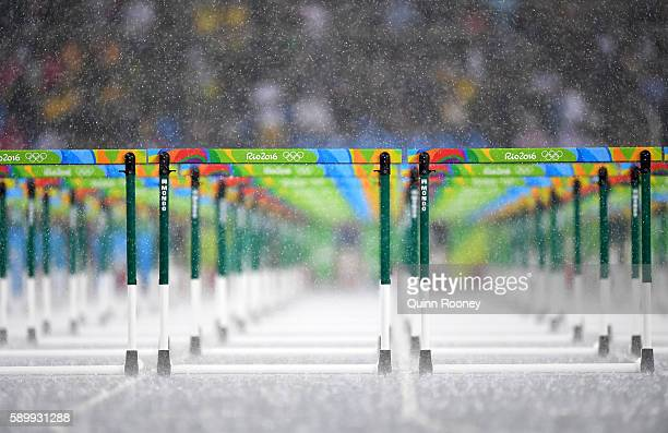Hurdles are seen as rain falls at the Olympic Stadium on Day 10 of the Rio 2016 Olympic Games on August 15 2016 in Rio de Janeiro Brazil