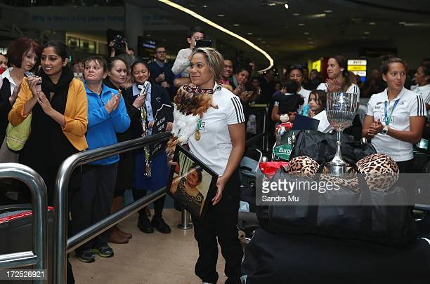 Huriana Manual and the New Zealand Woman's Sevens squad are welcomed home at Auckland International Airport on July 3 2013 in Auckland New Zealand...