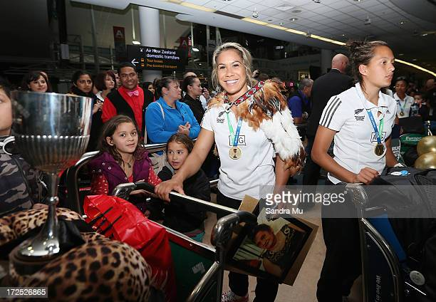 Huriana Manuel captain of the New Zealand Woman's Sevens team and Tyla NathanWong arrive at Auckland International Airport on July 3 2013 in Auckland...
