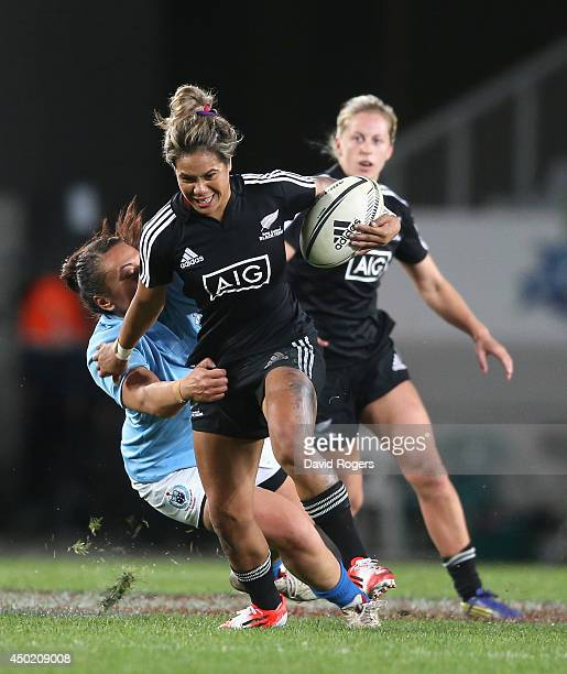 Huriana Manuel of New Zealand breaks with the ball during the New Zealand Black Ferns and Samoa at Eden Park on June 7, 2014 in Auckland, New Zealand.