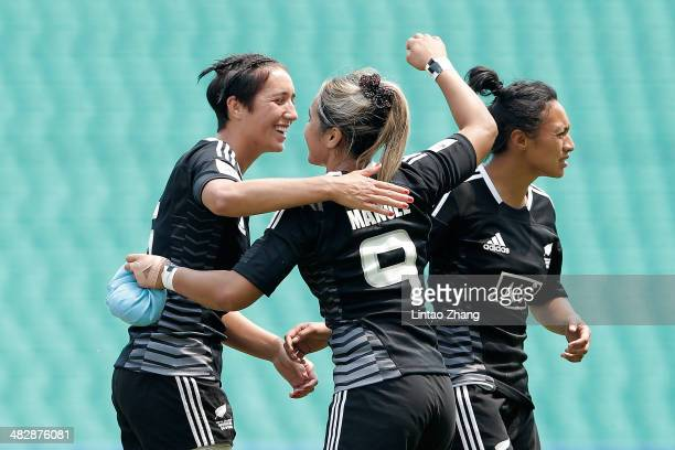 Huriana Manuel of New Zealand celebrates after kicking a goal during the day one of IRB Women's Sevens World Series match between New Zealand and...