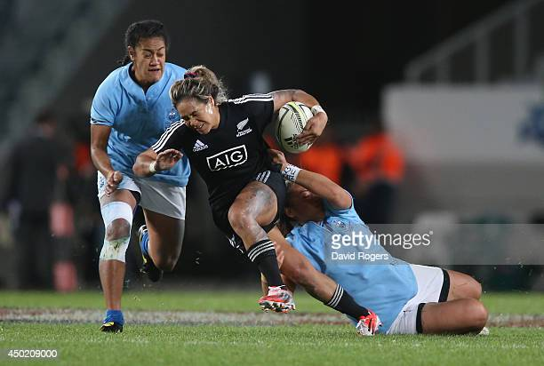Huriana Manuel of New Zealand is tackled during the New Zealand Black Ferns and Samoa at Eden Park on June 7, 2014 in Auckland, New Zealand.