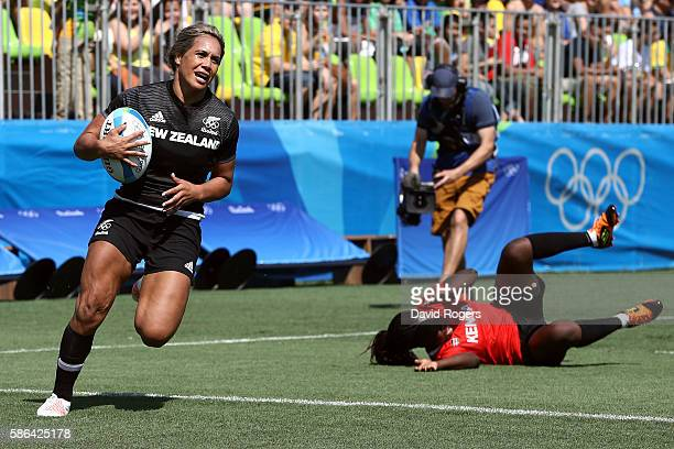 Huriana Manuel of New Zealand scores a try during a Women's Pool B rugby match between New Zealand and Kenya on Day 1 of the Rio 2016 Olympic Games...
