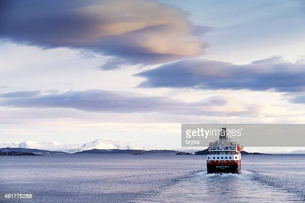 Hurigruten cruise ship sailing in Norway
