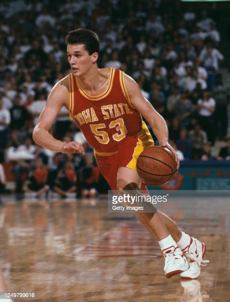 Hurl Beechum, Forward for the Iowa State Cyclones dribbles the ball down court during the NCAA Big 8 Conference college basketball game against the...