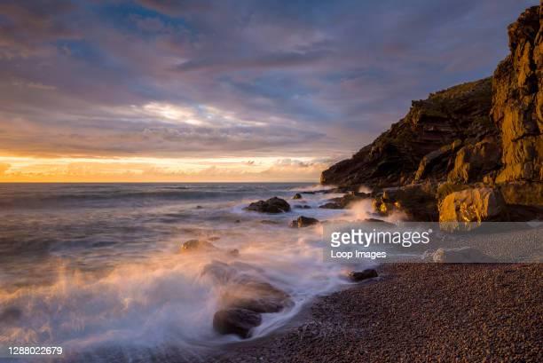 Hurlstone Point and Bossington Beach in Porlock Bay on the Exmoor National Park coast.