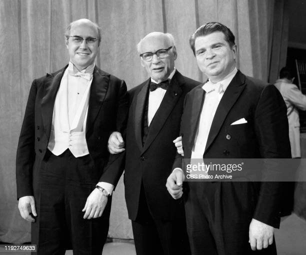 S Hurok Presents Part III a CBS television special Broadcast December 25 1969 Pictured from left is Mstislav Rostropovich Sol Hurok Emil Gilels