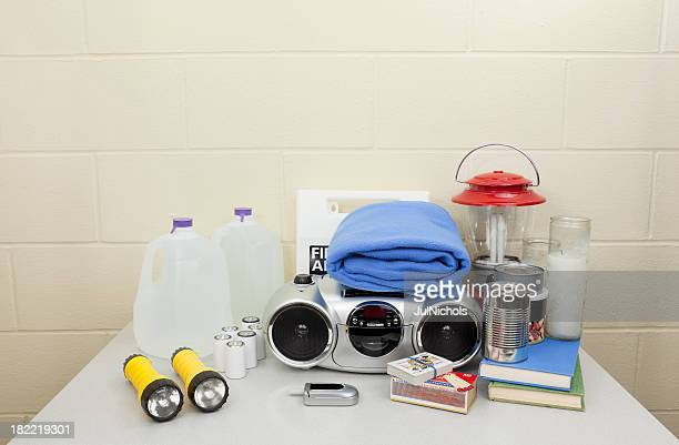 hurricane, blackout, or disaster supplies - first aid kit stock pictures, royalty-free photos & images