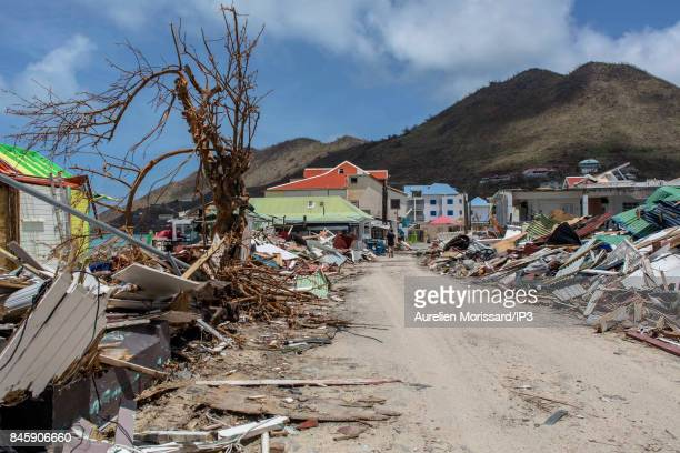 Hurricane damage on the island of Saint Martin after the passage of the hurricane IRMA through the Caribbean Islands on September 11 2017 in the...