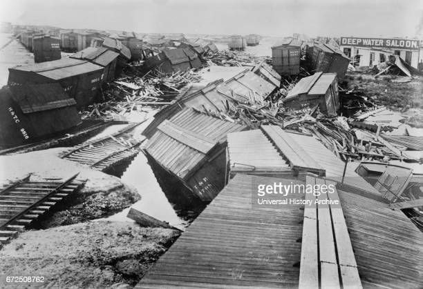 Hurricane Destruction, Galveston, Texas, USA, Bain News Service, September 1900.