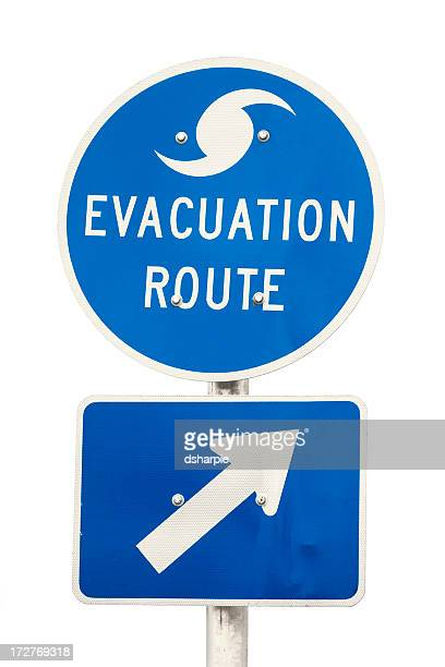 hurricane evacuation route road sign - isolated - evacuation stock pictures, royalty-free photos & images