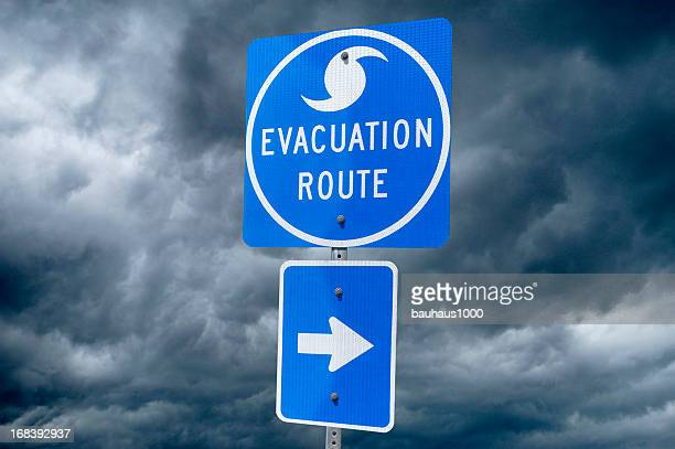 hurricane evacuation route road sign - evacuation stock pictures, royalty-free photos & images