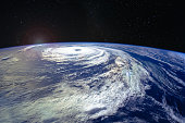 Hurricane Florence over the Atlantics close to the US coast, viewed from the space station. Gaping eye of a category 4 hurricane. Elements of this image furnished by NASA.
