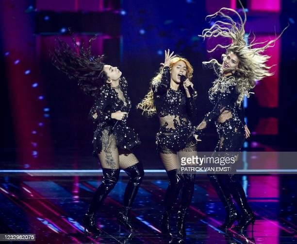 Hurricane from Serbia performs with the song Loco Loco during the first dress rehearsal of the second semi-final of the Eurovision Song Contest on...