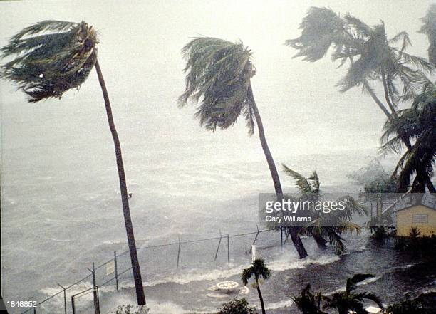 Hurricane Hugo slams into the eastern coast September 19 1989 in San Juan Puerto Rico Wind gusts of 140 mph and heavy rains ripped through the US...