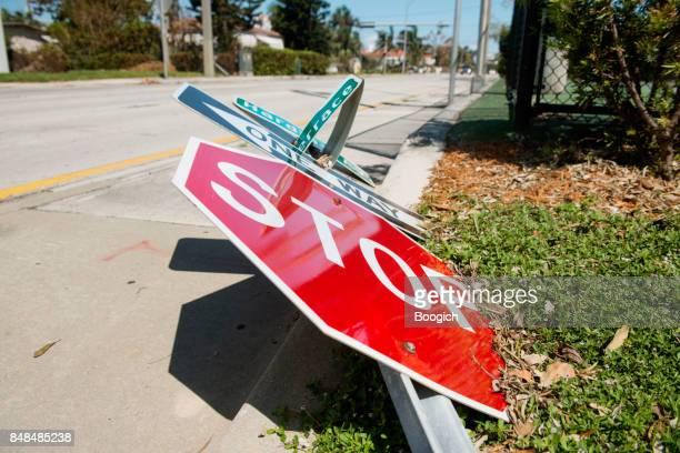 Hurricane Irma Aftermath Fallen Stop Sign Debris Miami Florida