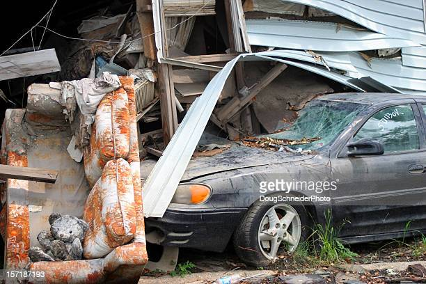 hurricane katrina damage - lower ninth ward - hurricane katrina stock pictures, royalty-free photos & images