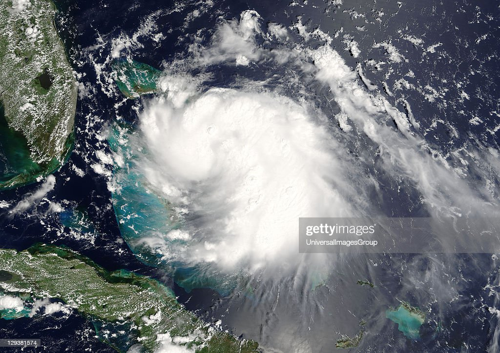 Hurricane Katrina on 24 August 2005 over the Bahamas and nearing Florida, US (top left on the image). True-colour satellite image using MODIS data., Hurricane Katrina, Louisiana, Us, On , True Colour Satellite Image