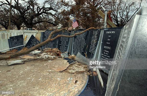 Hurricane Katrina severely damaged the Camille Memorial Wall, a memorial for victims of Hurricane Camille just across Hwy. 90 September 3, 2005 in...