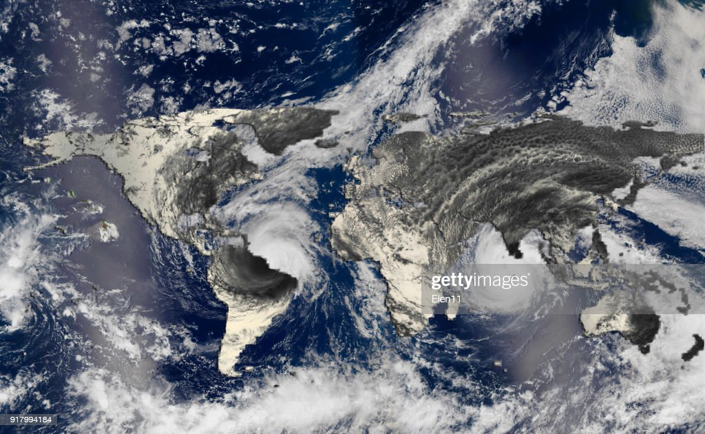 Hurricane over the world map silhouette, elements of this image furnished by NASA : Stock Photo