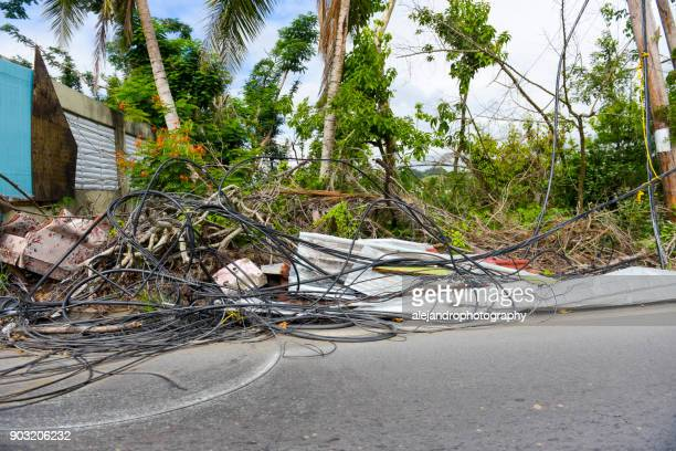 hurricane ravaged neighborhood - 2017 hurricane maria stock pictures, royalty-free photos & images