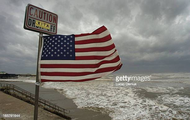 Hurricane Rita rips into the Galveston sea wall Friday afternoon