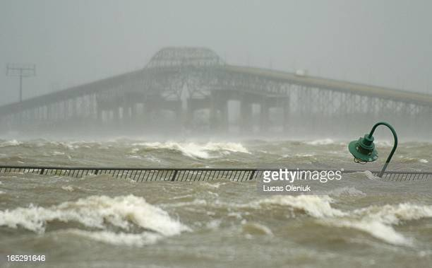 Hurricane Rita's surge covers the bay in Lake Charles one of the worst affected areas Saturday afternoon Most of the low lying area are flooded with...