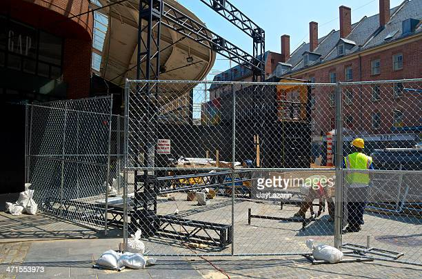hurricane sandy aftermath, 7 months later, fulton market, lower manhattan - temporary stock pictures, royalty-free photos & images