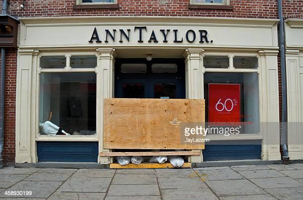 Hurricane Sandy aftermath, Damaged Ann Taylor store, Lower Manhattan, NYC