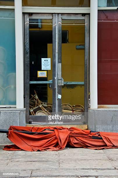 Hurrikan Sandy Verwüstung, beschädigte restaurant, Seaport, Lower Manhattan, NYC