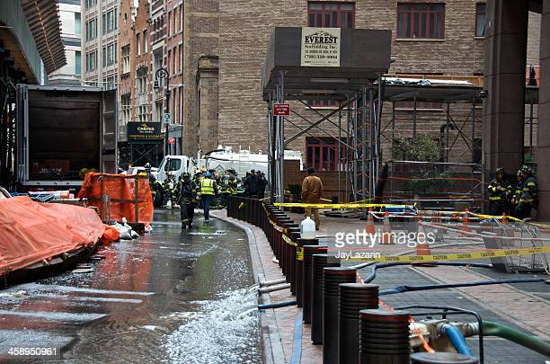 Hurricane Sandy flood water removal, Manhattan Financial District, NYC