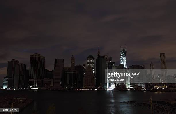Hurricane Sandy Manhattan blackout second night WTC lit up
