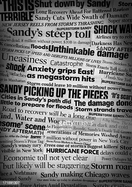 Hurricane Sandy Newspaper Headline Collage