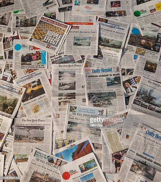 Ouragan Sandy dans les titres des journaux