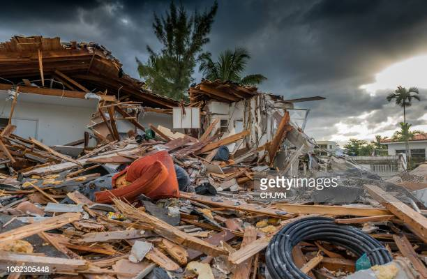 hurricane season - house collapsing stock pictures, royalty-free photos & images