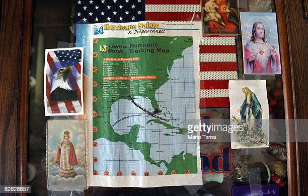 A hurricane tracking map is seen inside Donald Francis' home which was destroyed by Hurricane Gustav September 2 2008 in Houma Louisiana Gustav...