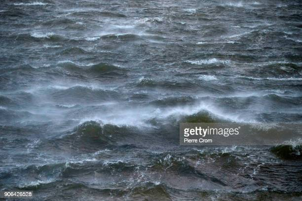A hurricaneforce storm blows gale winds of up to force 12 on January 18 2018 in The Hague Netherlands The Dutch authorities issued a code red alert...