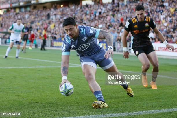 Hurricanes Ben Lam runs in a try during the round seven Super Rugby match between the Chiefs and the Hurricanes at Waikato Stadium on March 13 2020...