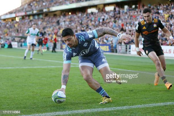 Hurricanes Ben Lam runs in a try during the round seven Super Rugby match between the Chiefs and the Hurricanes at Waikato Stadium on March 13, 2020...