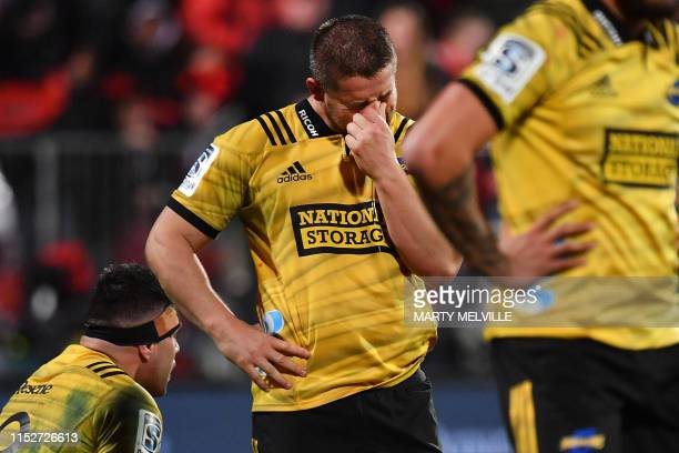 Hurricanes' captain Dane Coles reacts after their loss during the Super Rugby semifinal match between New Zealand's Crusaders and Hurricanes in...