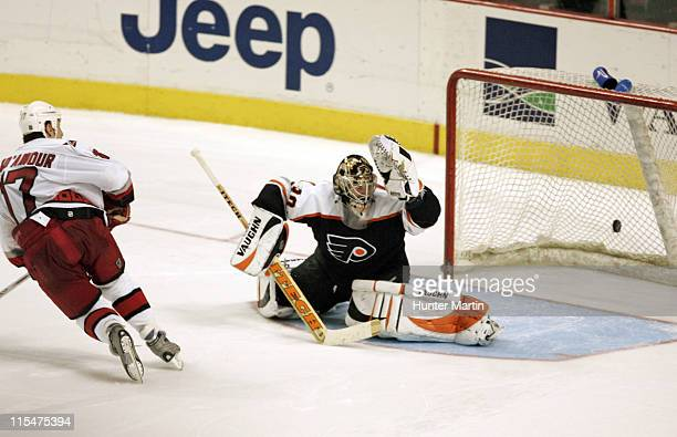 Hurricanes captain Rod Brind'Amour scores the game winning overtime shoot out goal against Flyers goalie Antero Niittymaki at the Wachovia Center in...